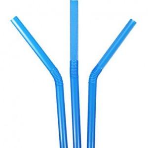 Neon Jumbo Drinking Straws Spoon Striped Clear Black Smoothie Flexi